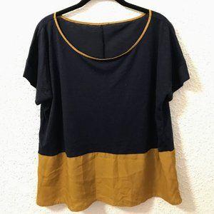Navy and yellow short-sleeved shirt
